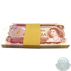 Original 100x Consecutive 1974 Canada $2.00 Notes - ARA2978101-200. Most notes UNC, some AU-UNC and