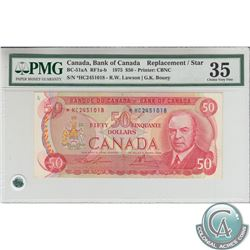 BC-51aA 1975 Bank of Canada Replacement $50, Lawson-Bouey, S/N: *HC2451018, PMG VF-35. There is a mi