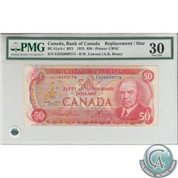 BC-51aA-i 1975 Bank of Canada Replacement $50, Lawson-Bouey, S/N: EHX0090774, PMG VF-30. A decent pr