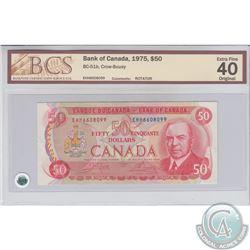 BC-51b 1975 Bank of Canada, $50,Rotator, Crow-Bouey, S/N: EHH6608099. BCS EF-40 Original.