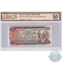 BC-52aA 1975 Bank of Canada $100, Lawson-Bouey, Replacement, S/N: *JA6492328. BCS AU-50 Original.