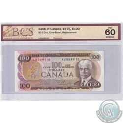 BC-52bA 1975 Bank of Canada $100, Crow-Bouey, S/N: AJX0499110. BCS UNC-60 Original.