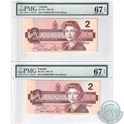 BC-55a 1986 Bank of Canada $2, Crow-Bouey. 2 in Sequence  S/N: AUH3615424/25. Both PMG Superb Gem UN