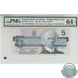 BC-56aA 1986 Bank of Canada Replacement $5, Crow-Bouey, Yellow B.P.N., S/N: ENX1694336, PMG CUNC-64,