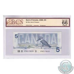 BC-56c 1986 Bank of Canada Changeover $5, Bonin-Thiessen, S/N: GPW2178423. BCS Gem UNC-66 Original.