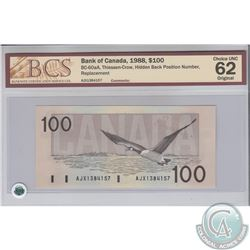BC-60aA. 1988 Bank of Canada Replacement $100, Thiessen-Crow, Hidden Back Position Number, S/N: AJX1
