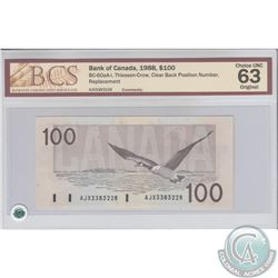 BC-60aA-i. 1988 Bank of Canada Replacement $100, Thiessen-Crow, Clear Back Position Number, S/N: AJX