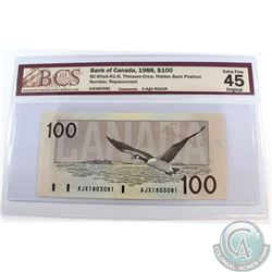 BC-60aA-N1-iii 1988 Bank of Canada $100, Thiessen-Crow, Hidden Back Position Number, Replacement, 4