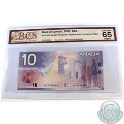 BC-63aA. 2001 Bank of Canada $10, Knight-Thiessen, Replacement, Printed 2000, S/N: FDZ9228091 (9.000