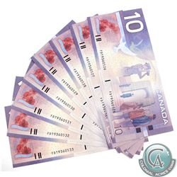 BC-63aA. 2001 Bank of Canada $10, Knight-Thiessen FDT Replacement Notes, 8 in Sequence  S/N: FDT9360