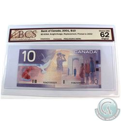 BC-63bA. 2001 Bank of Canada $10, Knight-Dodge, Replacement, Printed 2002, S/N: FEN2530221 (2.50M-2.