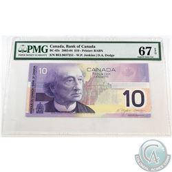 BC-63c. 2001 Bank of Canada $10, Jenkins-Dodge, Printed 2003, S/N: BEL9637251. PMG Superb Gem UNC-67