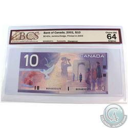 BC-63c. 2001 Bank of Canada $10, Jenkins-Dodge, Printed 2003, S/N: BER6850571. BCS CUNC-64 Original.