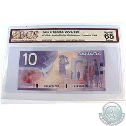 BC-63cA. 2001 Bank of Canada $10, Jenkins-Dodge, Replacement, Printed 2004, S/N: BER9706710 (9.675M-