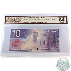 BC-63cA. 2001 Bank of Canada $10, Jenkins-Dodge, Replacement, Printed 2003, S/N: BEK9533059 (9.495M-