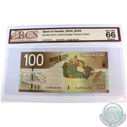 BC-66a-i-N1-iii. 2004 Bank of Canada $100, Jenkins-Dodge, Printed 2003, 4 Digit RADAR, S/N: EJA87424
