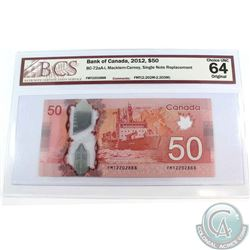 BC-72aa-i 2012 $50, Single Note Replacement, Macklem-Carney, S/N: FMT2202888. BCS Certified Choice U