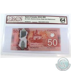 BC-72aa-i 2012 $50, Single Note Replacement, Macklem-Carney, S/N: FMU3922741. BCS Certified Choice U