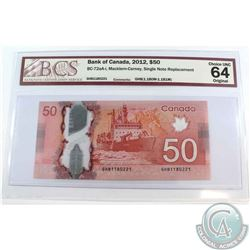 BC-72aa-i 2012 $50, Single Note Replacement, Macklem-Carney, S/N: GHB11802221. BCS Certified Choice