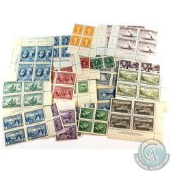 Mixed Lot of Canada Stamps from the 30's, 40's & 50's. Almost all the stamps are blocks and range fr