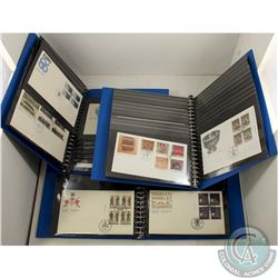 1983-1999 Canada First Day Covers in Blue Covercraft Albums. Most are 4-blocks with some less and si