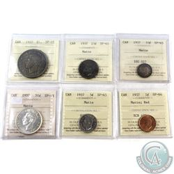 1937 Matte Specimen Set ICCS Certified + Case. You will receive the 1-cent SP-64 Red, 5-cent SP-65,