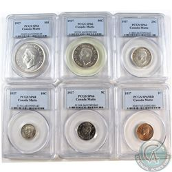 1937 Matte Specimen Set PCGS Certified. You will receive the 1-cent SP-65 Red, 5-cent SP-66, 10-cent