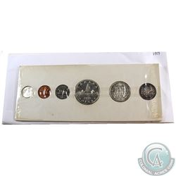 RCM Issue; 1959 Canada Proof Like Set - Original Plastic Wrap (Torn) & White Cardboard. Coins contai