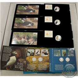 RCM Issue; 3 x RCM-Canada Post $20 Silver Coin (mintage 7,500) and Stamp (Limited Edition 4,000) Set
