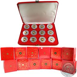 1998-2009 $15 Sterling Silver Lunar coin collection in Red Velvet Display Box. The Twelve coins you