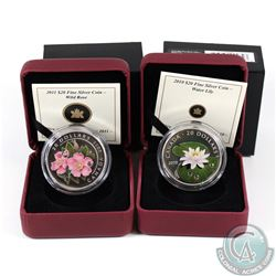 RCM Issue; 2010 Water Lily & 2011 Rose $20 Fine Silver Coins (Tax Exempt). 2pcs.