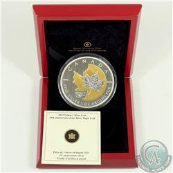 RCM Issue; 2013 $50 25th Anniversary Silver Maple Leaf 5oz Silver (Tax Exempt).