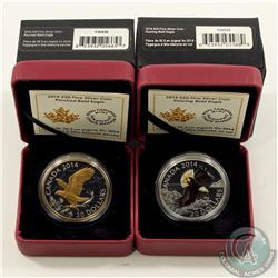 RCM Issue; 2014 $20 Perched Bald Eagle & Soaring Bald Eagle Fine Silver Coins (Tax Exempt). Minor we