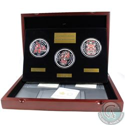 RCM Issue; 2016 5oz. Mythical Realms of the Haida 3-coin Set (Tax Exempt). Note Set contains a scrat
