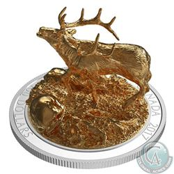 RCM Issue; 2017 $100 Sculpture of Majestic Canadian Animals - Elk Silver (Tax Exempt).