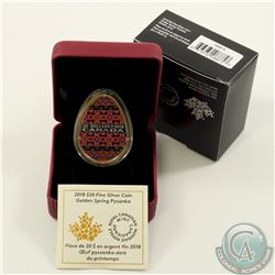 RCM Issue; 2018 Canada $20 Golden Spring Pysanka Egg (Tax Exempt).