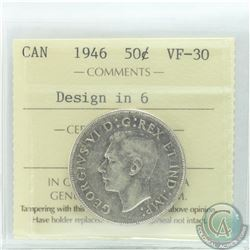 50-cent 1946 Design In 9 ICCS Certified VF-30