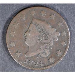 1824 LARGE CENT, CHOICE FINE KEY DATE