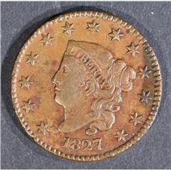 1827 LARGE CENT, XF/AU