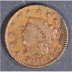 1827 LARGE CENT, XF/AU