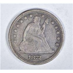 1872 SEATED QUARTER, XF KEY DATE!!