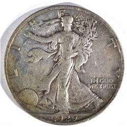 1929-S WALKING LIBERTY HALF DOLLAR, XF