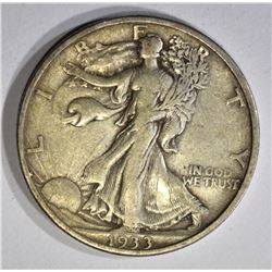 1933-S WALKING LIBERTY HALF DOLLAR, XF
