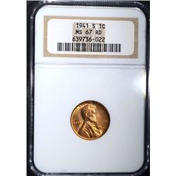 1941-S LINCOLN CENT, NGC MS-67 RED