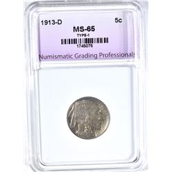 1913-D BUFFALO NICKEL, NGP GEM BU