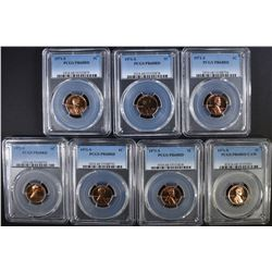 7 1971-S LINCOLN CENTS PCGS PR-68 RD