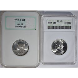 1941 ANACS MS-65 & 40-S NGC MS-65 WASH. QUARTERS