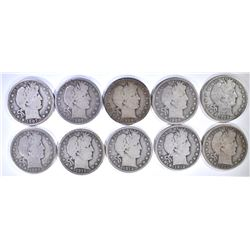 10 diff DATED BARBER HALF DOLLARS