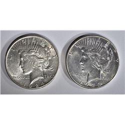 1923-S, & 24-S PEACE DOLLARS AU SCRATCHES