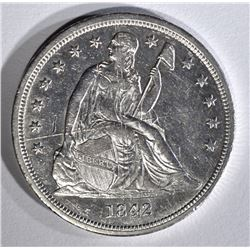 1842 SEATED DOLLAR AU SCRATCHED OBV.